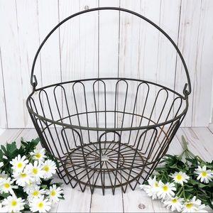 Vintage Farmhouse Rustic Egg Garden Wire Basket